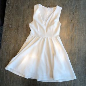 White Deep V Dress